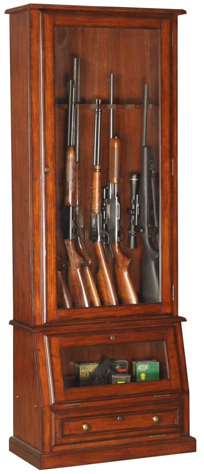 12 Gun Cabinet Wood Veneer With Locking Glass Display pertaining to proportions 650 X 1510