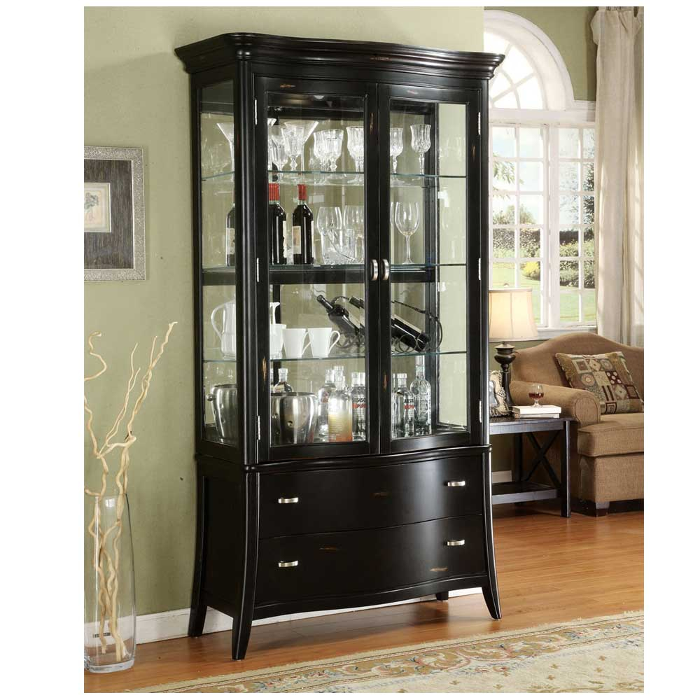Antique Living Room With Black Curio Glass Display Cabinet Dark For Size  1000 X 1000