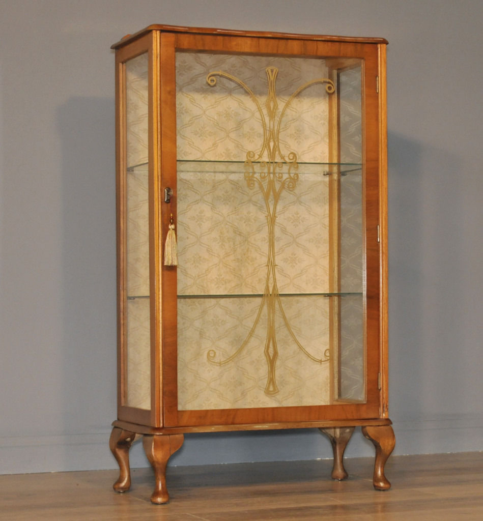 Attractive Small Vintage Art Deco Burr Walnut Single Door Display pertaining to dimensions 949 X 1024