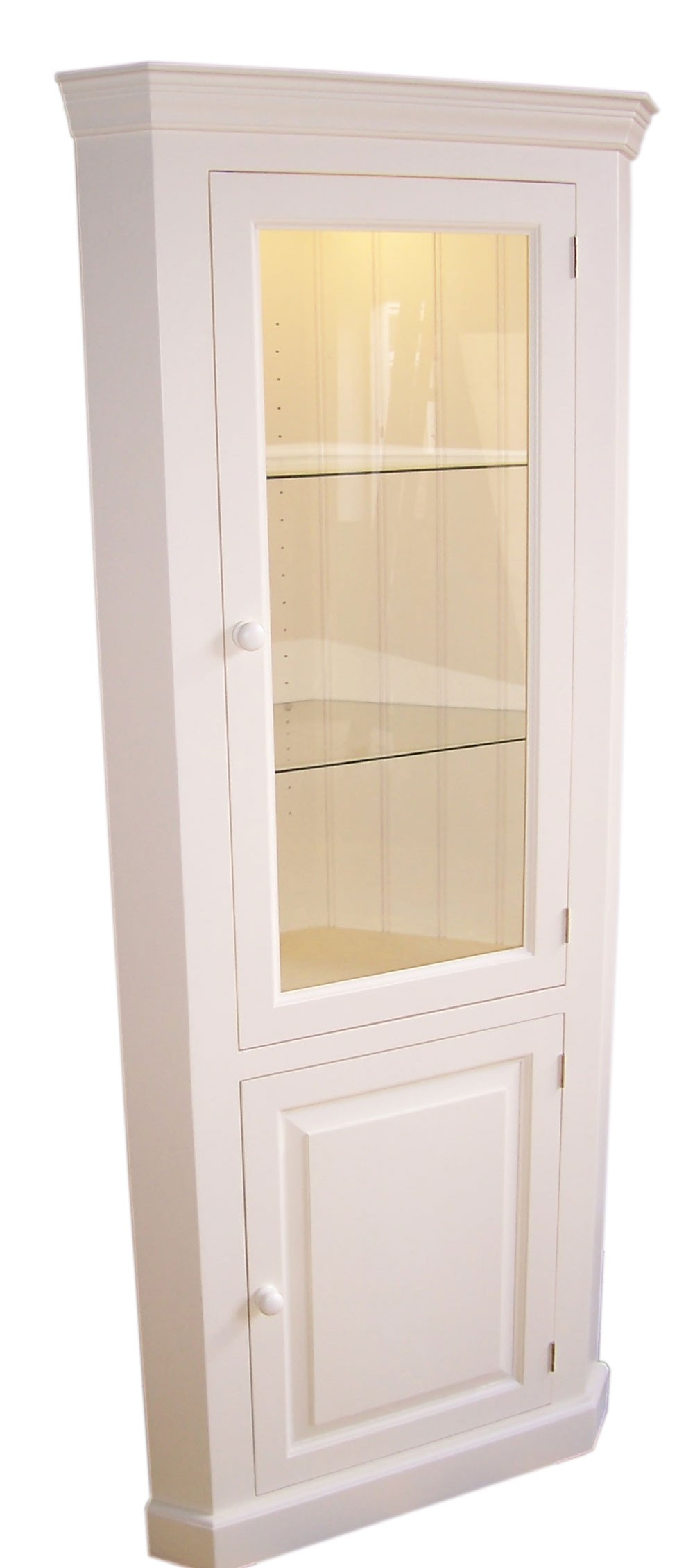 Bespoke Painted Corner Display Cabinet in proportions 1002 X 2259