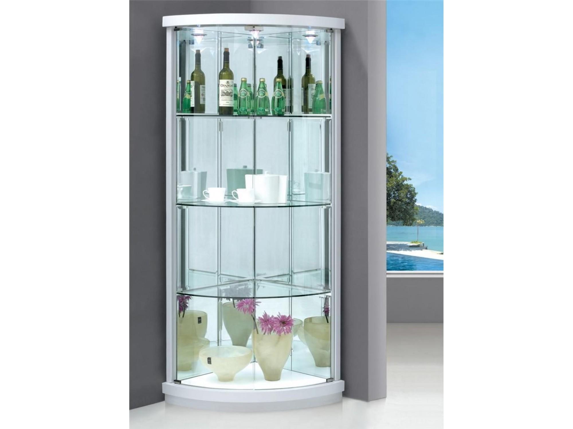 Corner Display Cabinet With 2 Gl Doors Lights Sunny Furniture Regarding Sizing 2000 X 1500