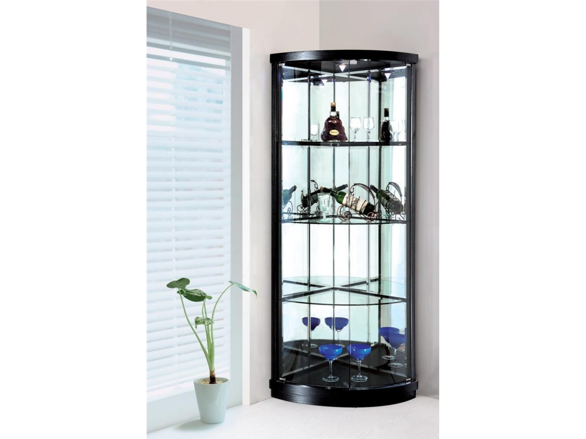Corner Display Cabinet With 2 Glass Doors Lights Sunny Furniture Throughout  Size 2000 X 1500