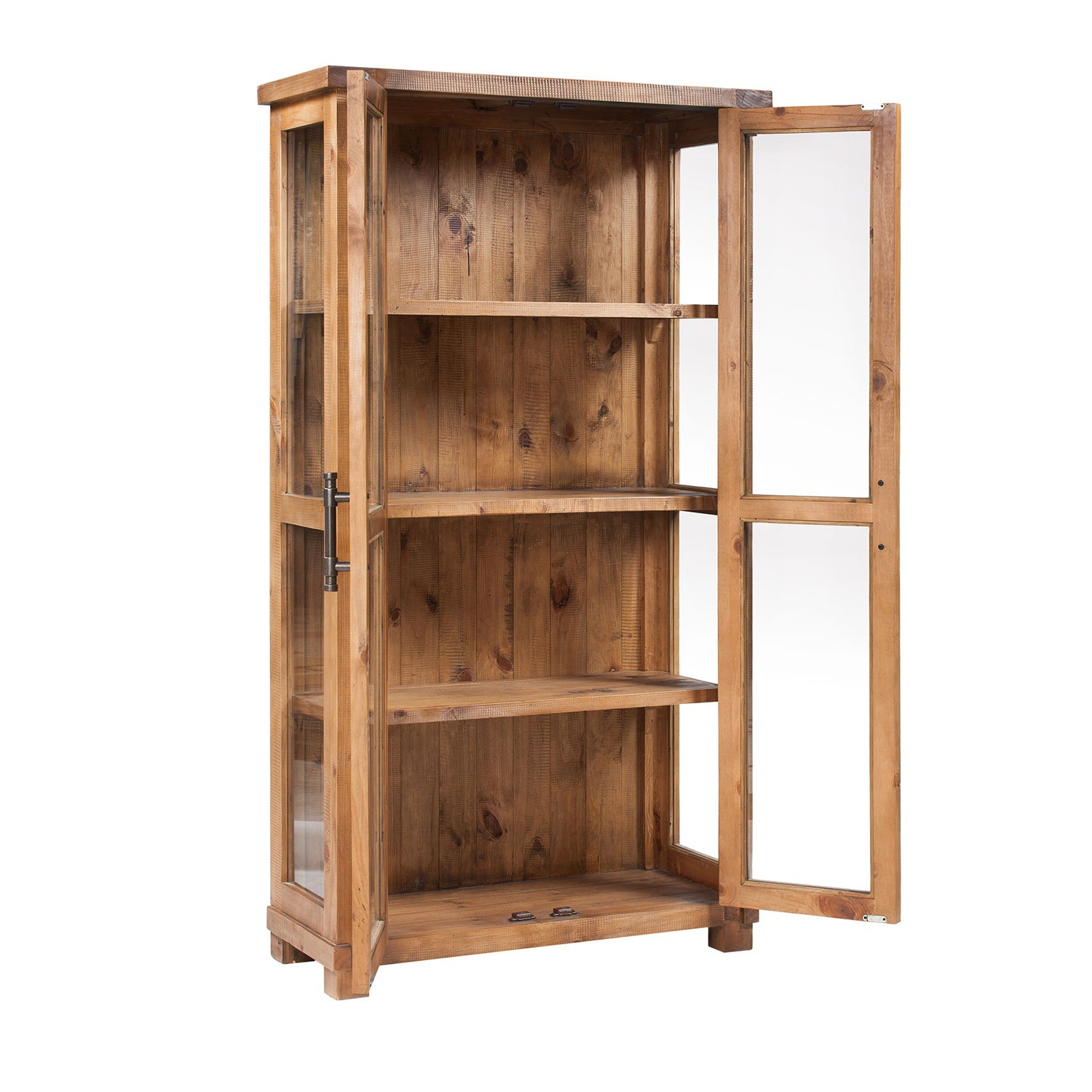Incroyable Country Glass Display Cabinet W Doors 391773 Pine Woodfinish Throughout  Proportions 1500 X 1500