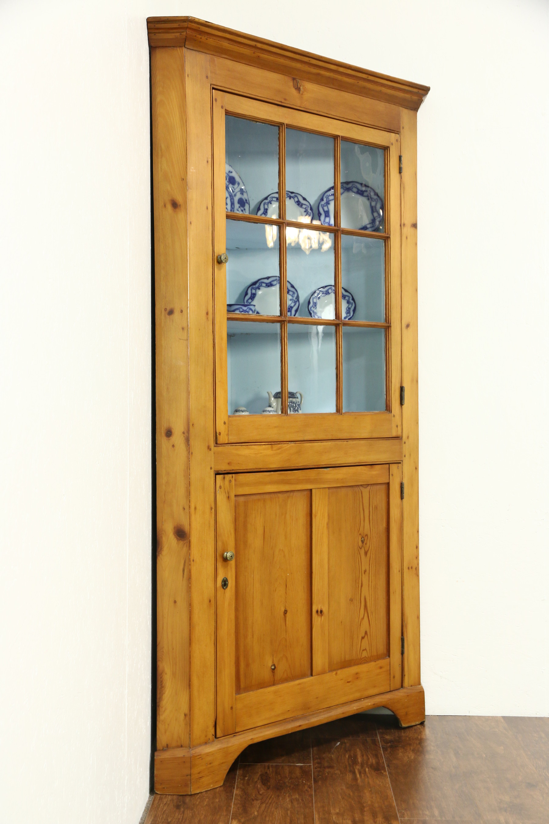 Country Pine New England Antique 1840s Corner Cabinet Or Cupboard with sizing 1800 X 2700