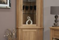 Eton Solid Oak Furniture Corner Display Cabinet Unit With Light throughout sizing 1183 X 1500