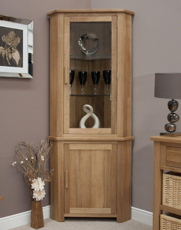 Eton Solid Oak Furniture Corner Display Cabinet Unit With Light Throughout Sizing 1183 X 1500