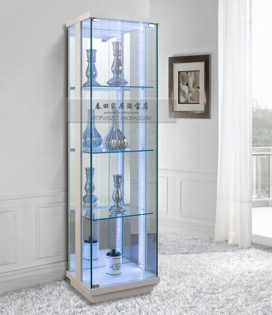 Charmant Furniture Modern And Inspiring Fully Glass Display Cabinet With Four  Pertaining To Sizing 885 X 1024