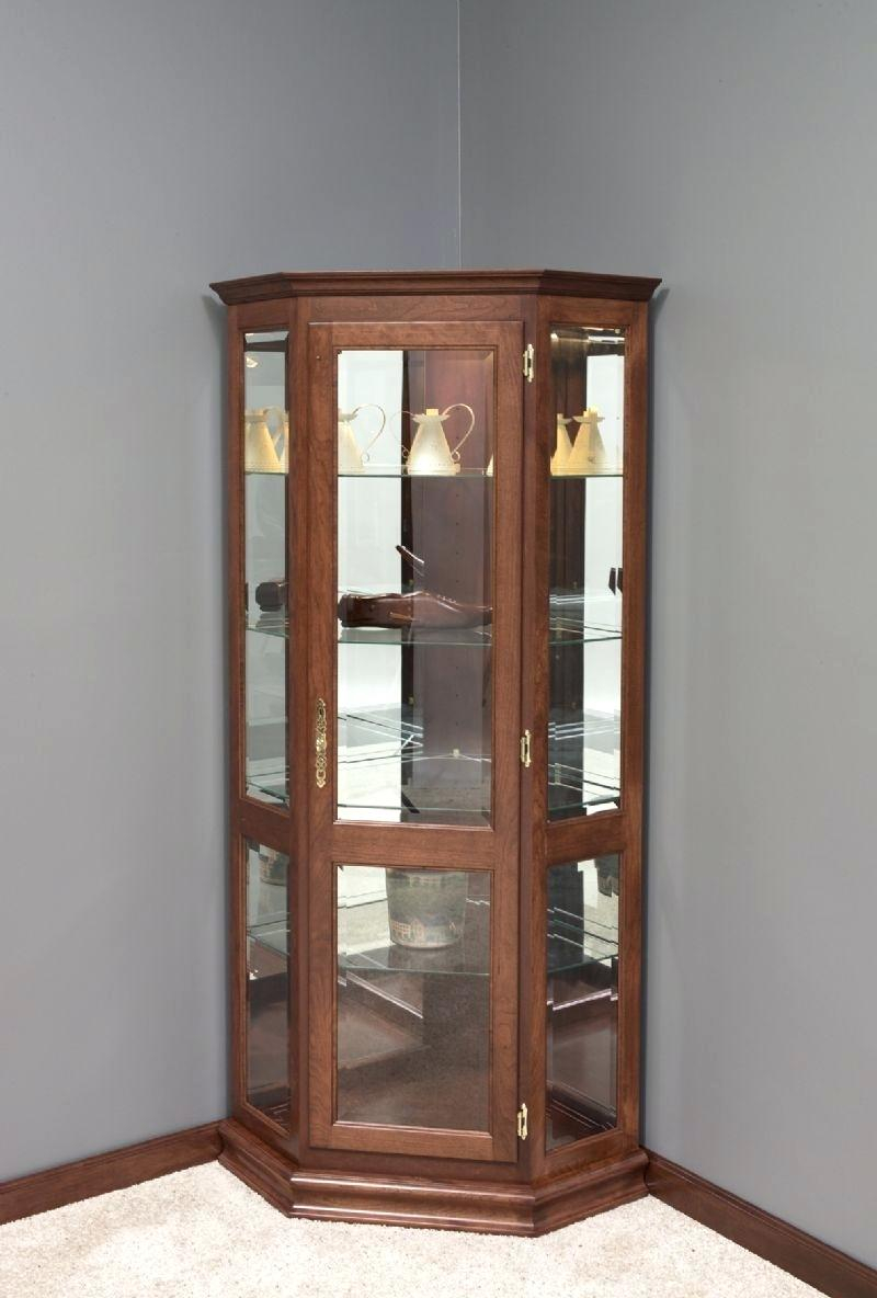 White Corner Curio Cabinet With Glass Doors Display Cabinet
