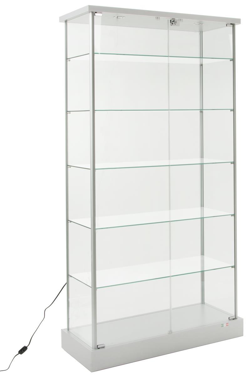 Gl Display Cabinet 4 Hidden Casters 2 Led Lights Intended For Measurements 792 X 1200