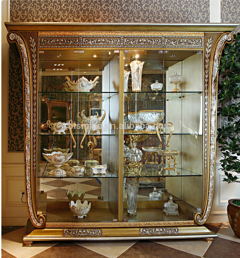 Luxury French Baroque Style Golden Four Door Gl Display Cabinet With Regard To Proportions 1000 X