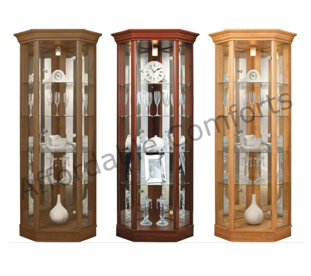 Light Oak Corner Display Cabinet With Pelmet Display Cabinet