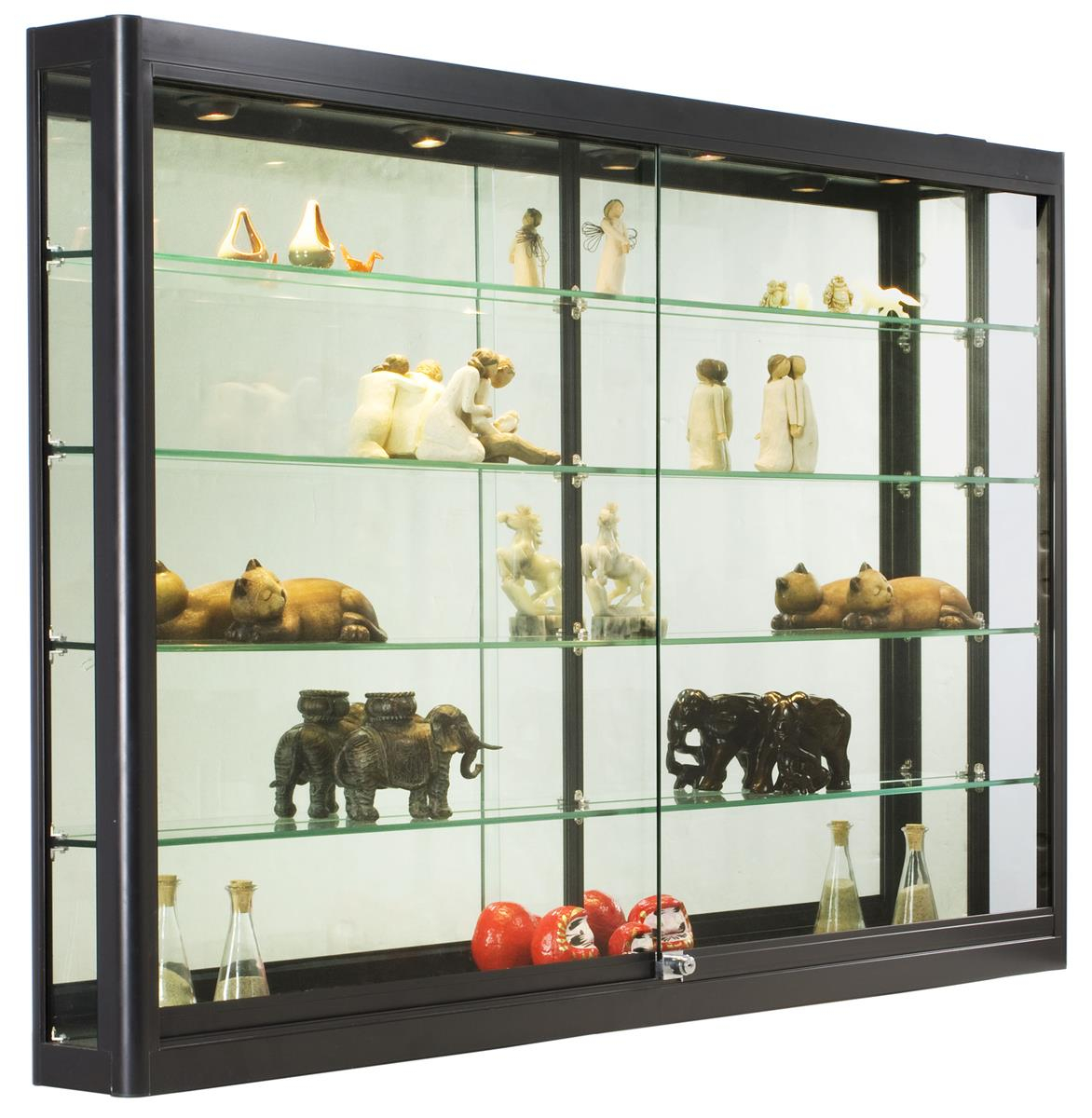 Retail Cabinet With Lights Black Frame Locking Wall Mount With Regard To  Measurements 1172 X 1200