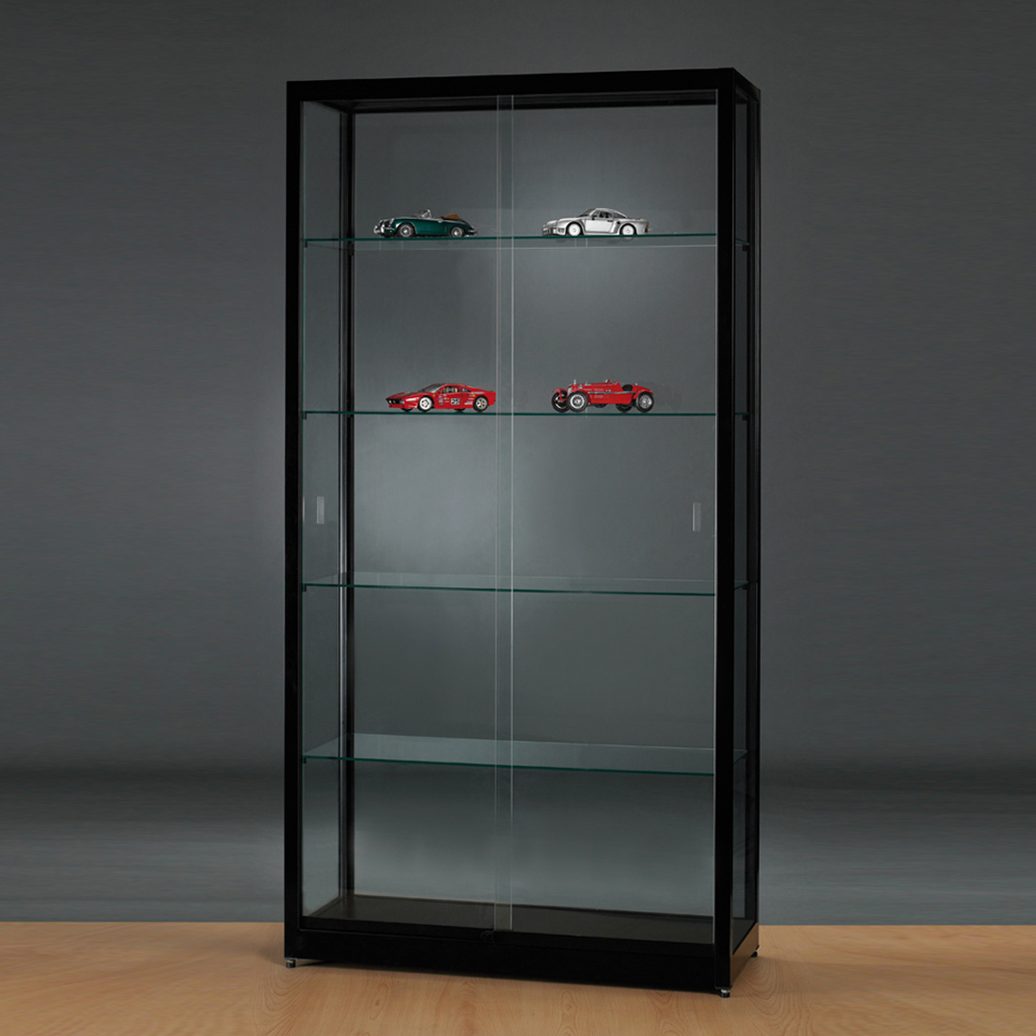 Tall Black Display Cabinet With Frameless Sliding Glass Doors Of Regarding Measurements 1140 X