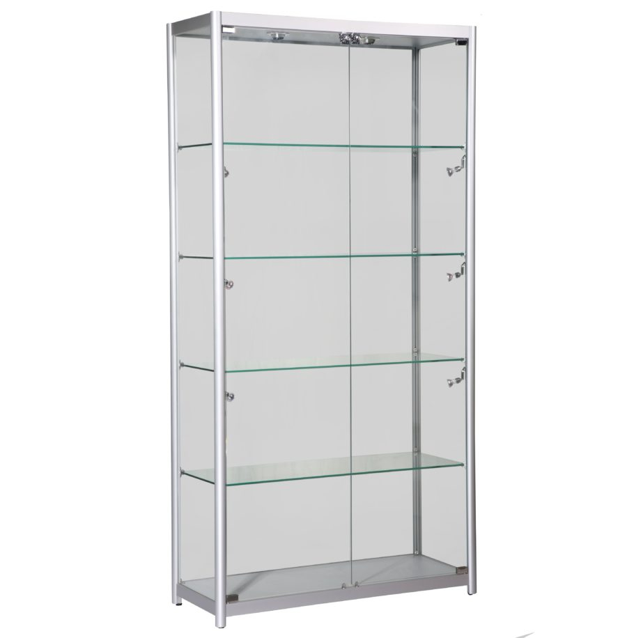 Tall Glass Display Cabinet With Doors And Five Shelves Inside Of with measurements 910 X 916