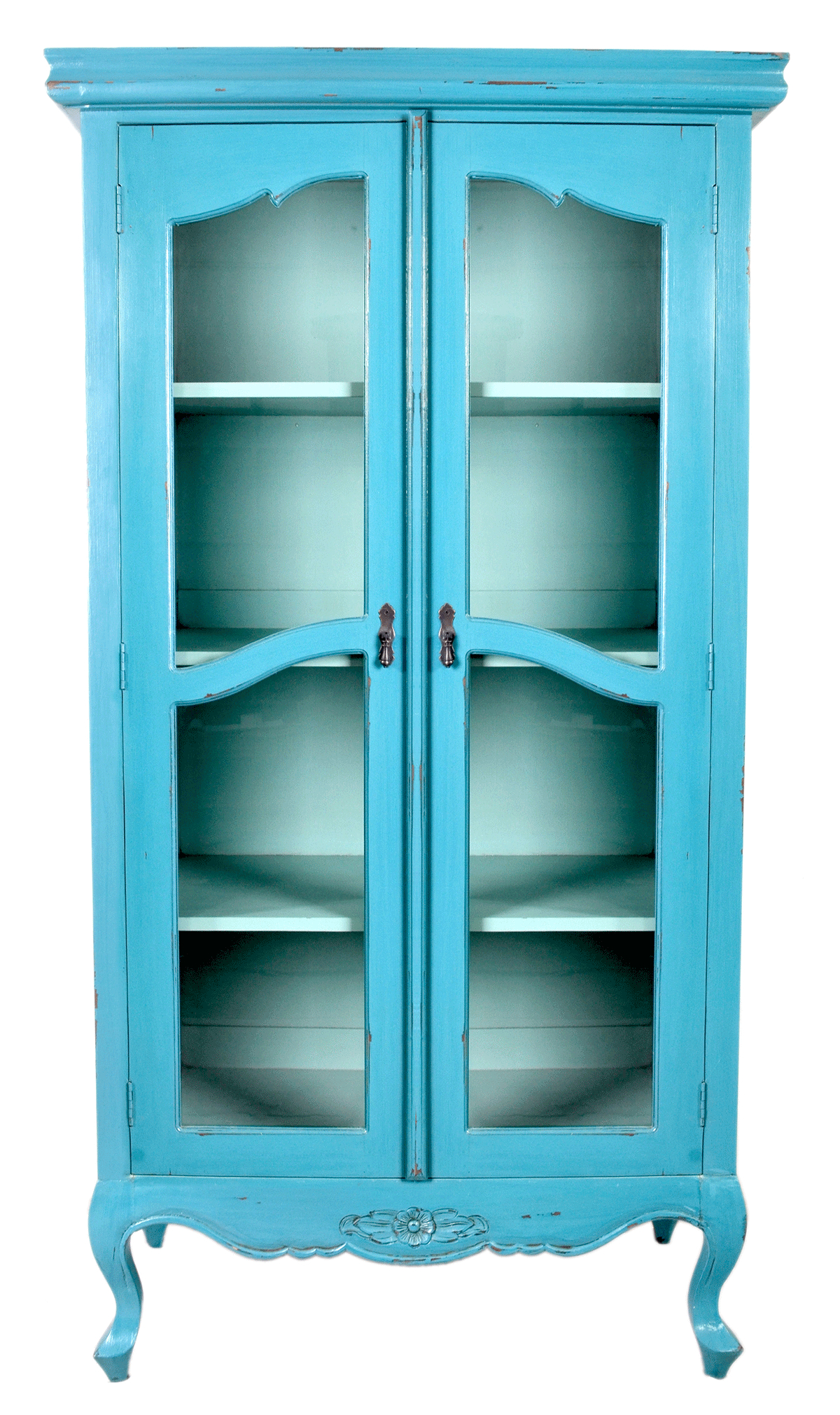 Tall Turquoise Antique Display Cabinet With Double Glass Doors And for sizing 1200 X 2021
