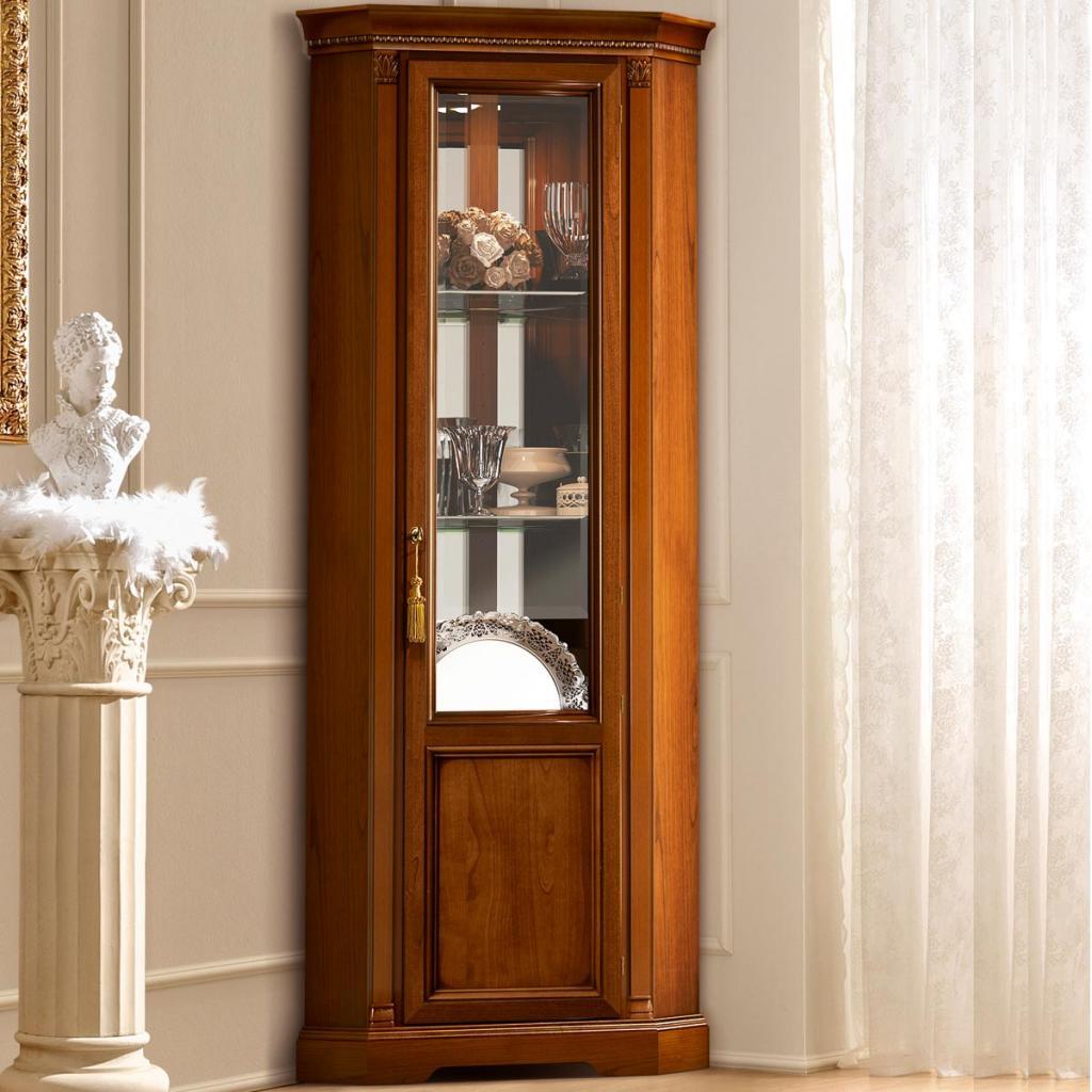 Genial Treviso Ornate Cherry Wood 1 Door Glass Corner Display Cabinet F D Inside  Size 1024 X 1024