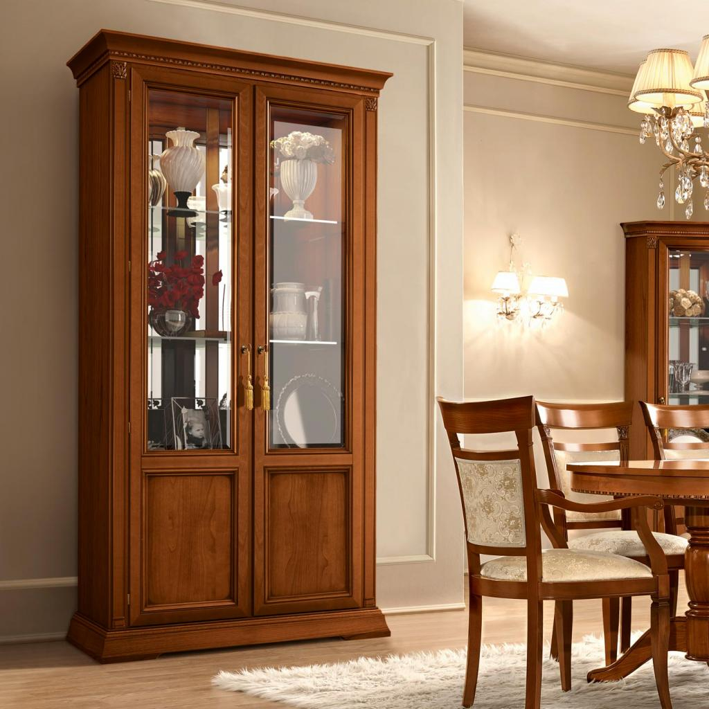 Treviso Ornate Cherry Wood 2 Door Glass Display Cabinet F D within measurements 1024 X 1024