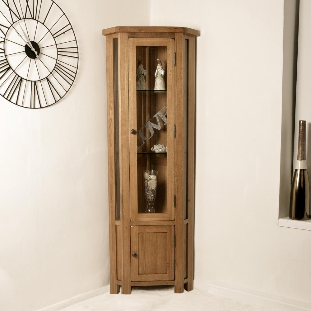 Tuscan Solid Oak Corner Display Cabinet Dressers Display in sizing 1000 X 1000