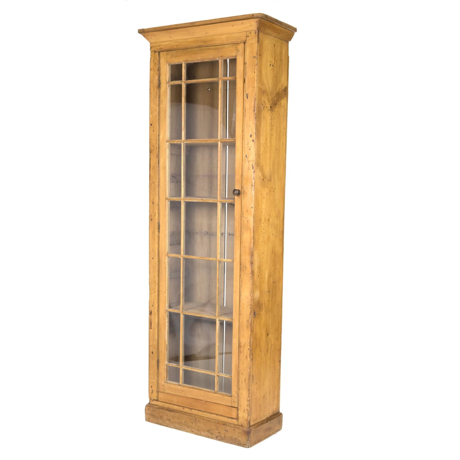 Vintage Narrow Pine Display Cabinet 19th Century Irish 415 355 1690 For Measurements 1600 X