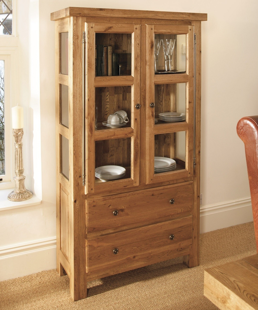 Windermere Solid Oak Glazed Display Cabinet Furniture Uk For Dimensions 1100 X 1317
