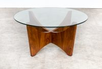 70s Round Wood Framed Coffee Table With Glass Table Top Barbmama regarding proportions 1538 X 1538
