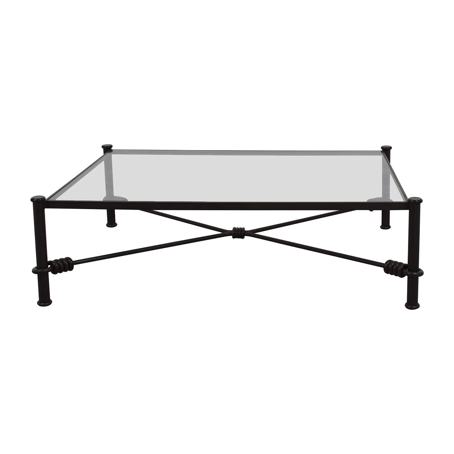 88 Off Black Wrought Iron Glass Coffee Table Tables pertaining to measurements 1500 X 1500