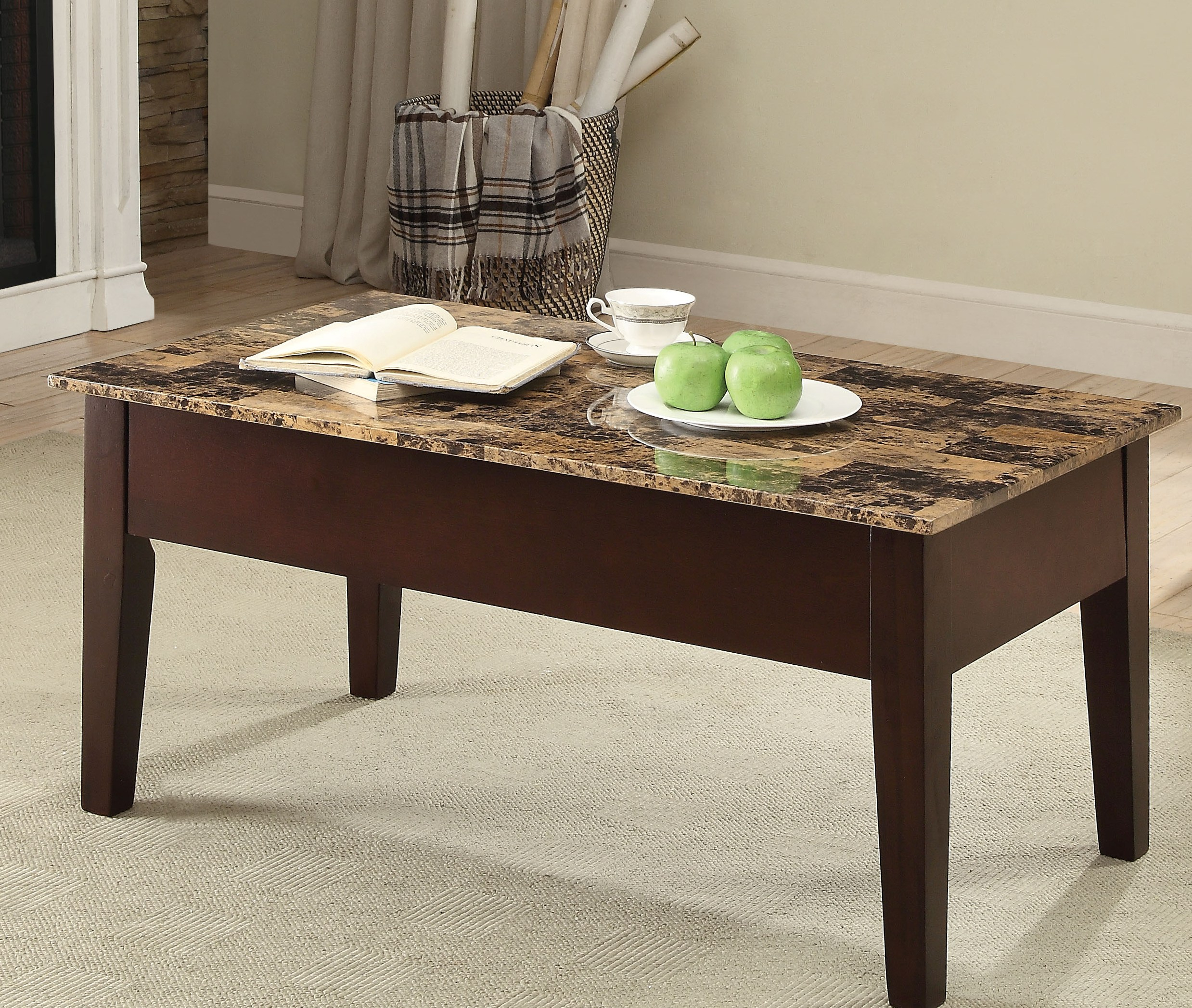 Acme Furniture Finely Ii Faux Marble Coffee Table With Lift Top pertaining to size 2477 X 2094