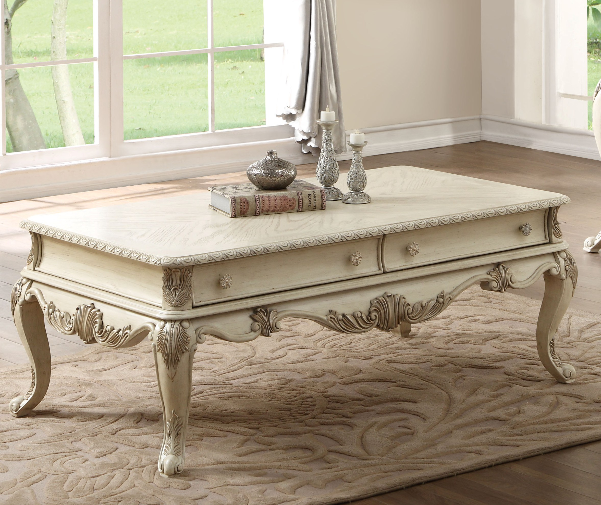 Acme Furniture Ragenardus Antique White Coffee Table The Classy Home for sizing 2355 X 1981