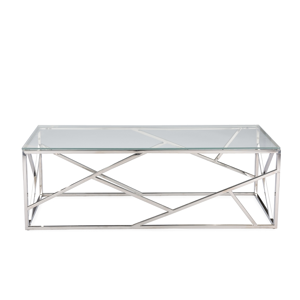 Aero Chrome Glass Coffee Table Modern Furniture Brickell Collection intended for dimensions 1000 X 1000