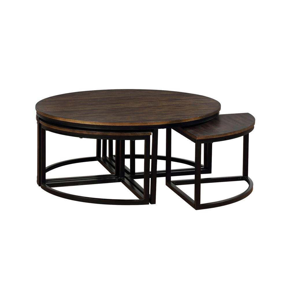 Alaterre Furniture Arcadia Antiqued Mocha 42 In Acacia Wood Round in dimensions 1000 X 1000