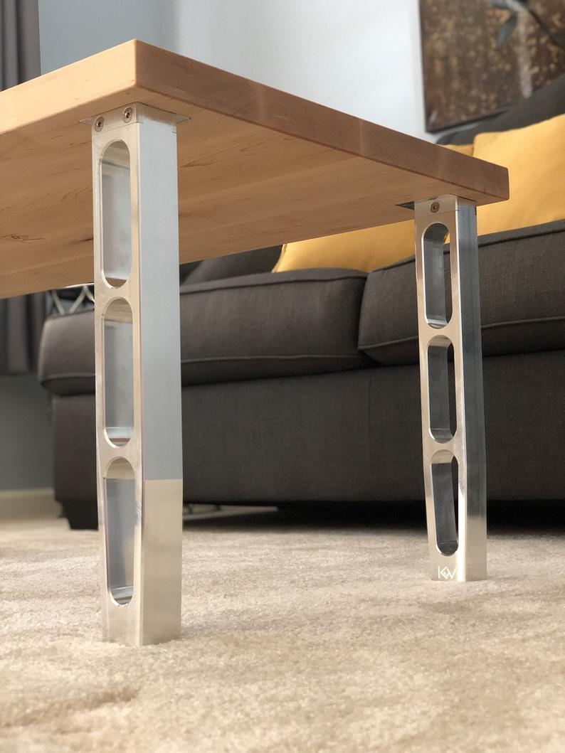 Aluminum Coffee Table Legs Cnc Machined Modern Design Etsy inside measurements 794 X 1059
