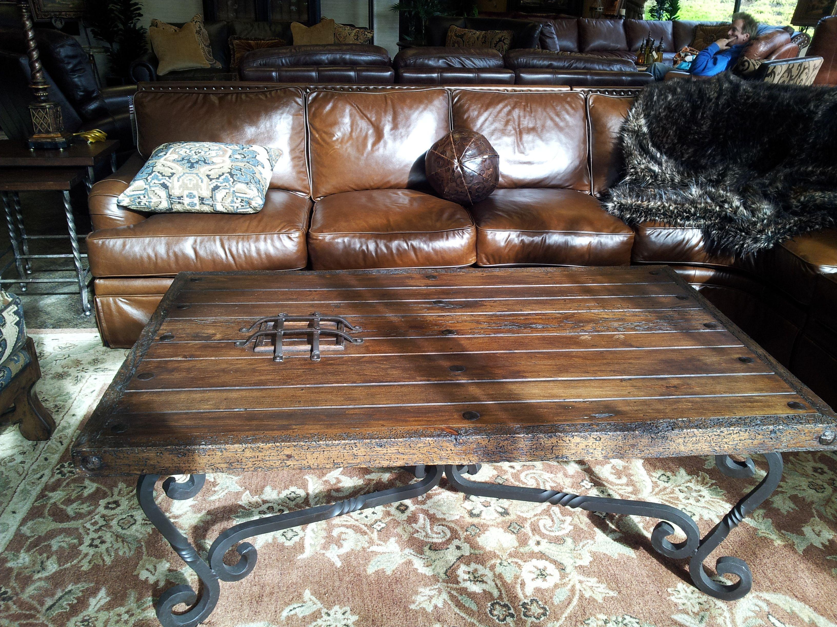Arizona Leather Spanish Style Coffee Table Leather Furniture in measurements 3264 X 2448
