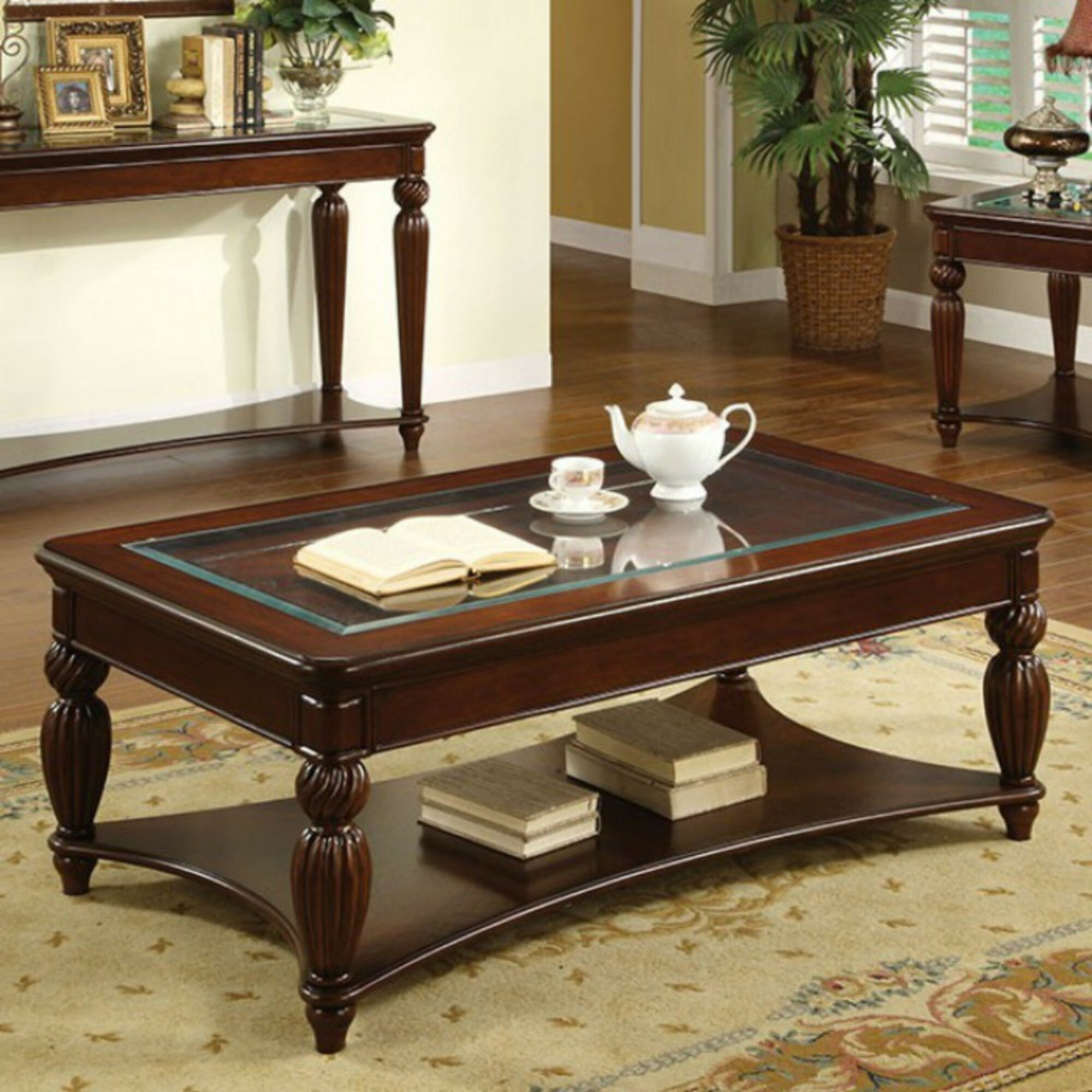 Astoria Grand Stella Traditional Glass Insert Coffee Table Wayfair throughout proportions 2000 X 2000