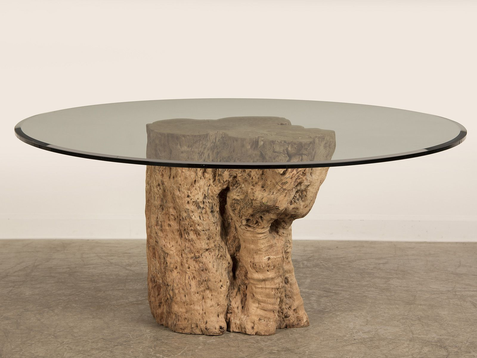 Awesome Teak Tree Trunk Table With Circled Glass Top As Inspiring with sizing 1600 X 1200