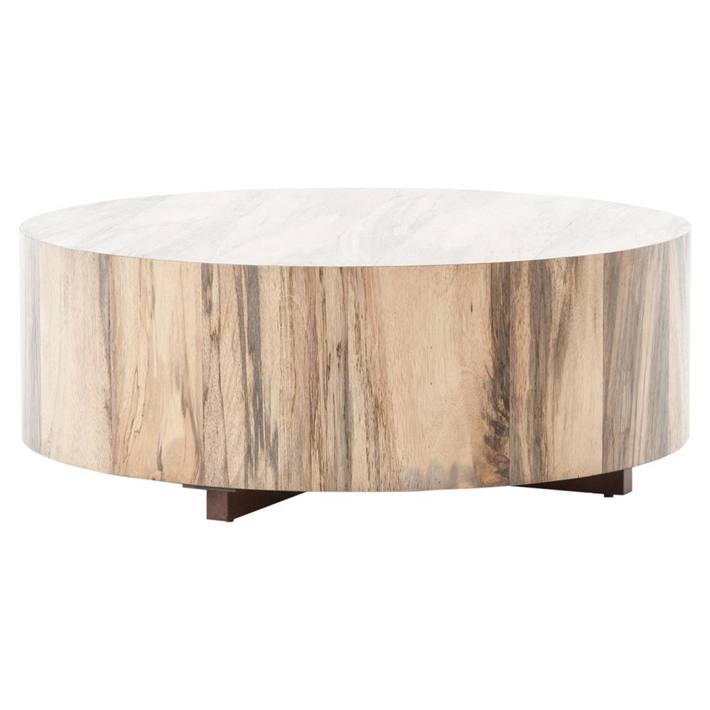 Barthes Rustic Lodge Round Natural Wood Block Coffee Table Kathy regarding proportions 999 X 999