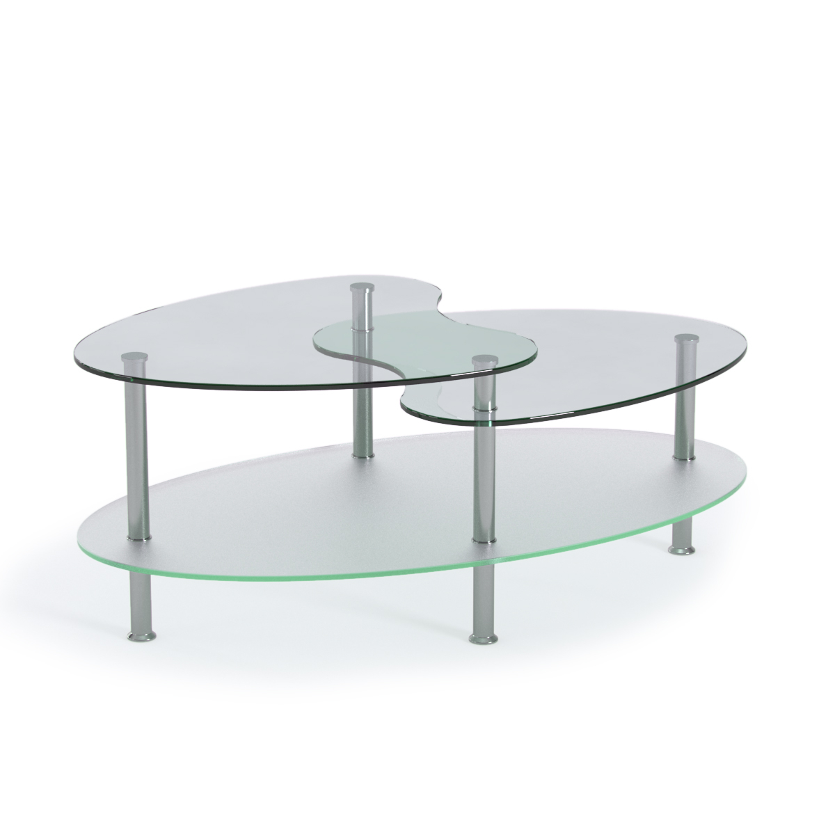 Becca 38 Inch Oval Two Tier Glass Coffee Table regarding sizing 1200 X 1200