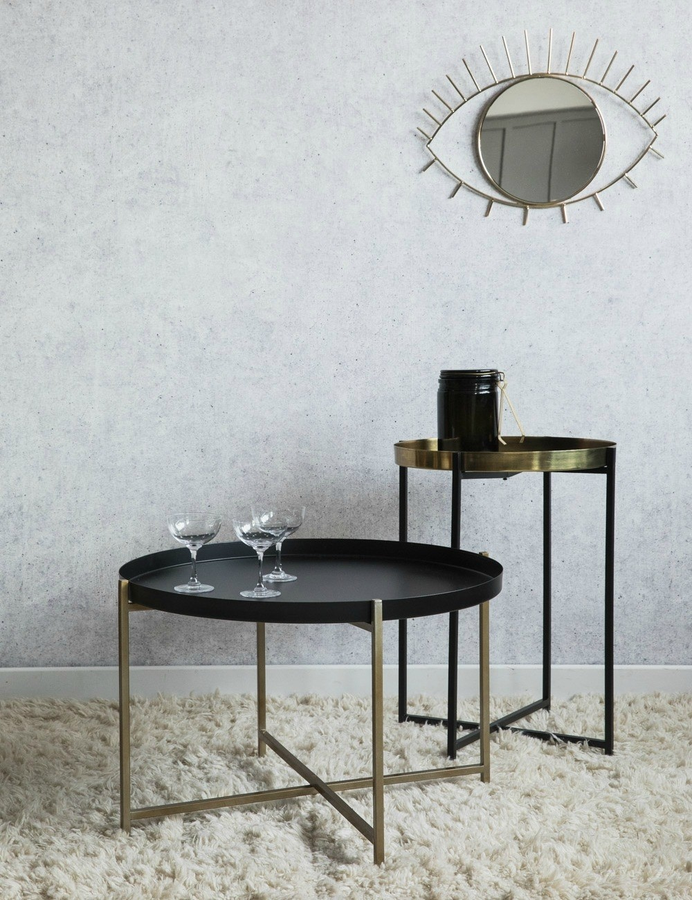 Black And Brass Side Tables At Rose Grey with regard to dimensions 1000 X 1300