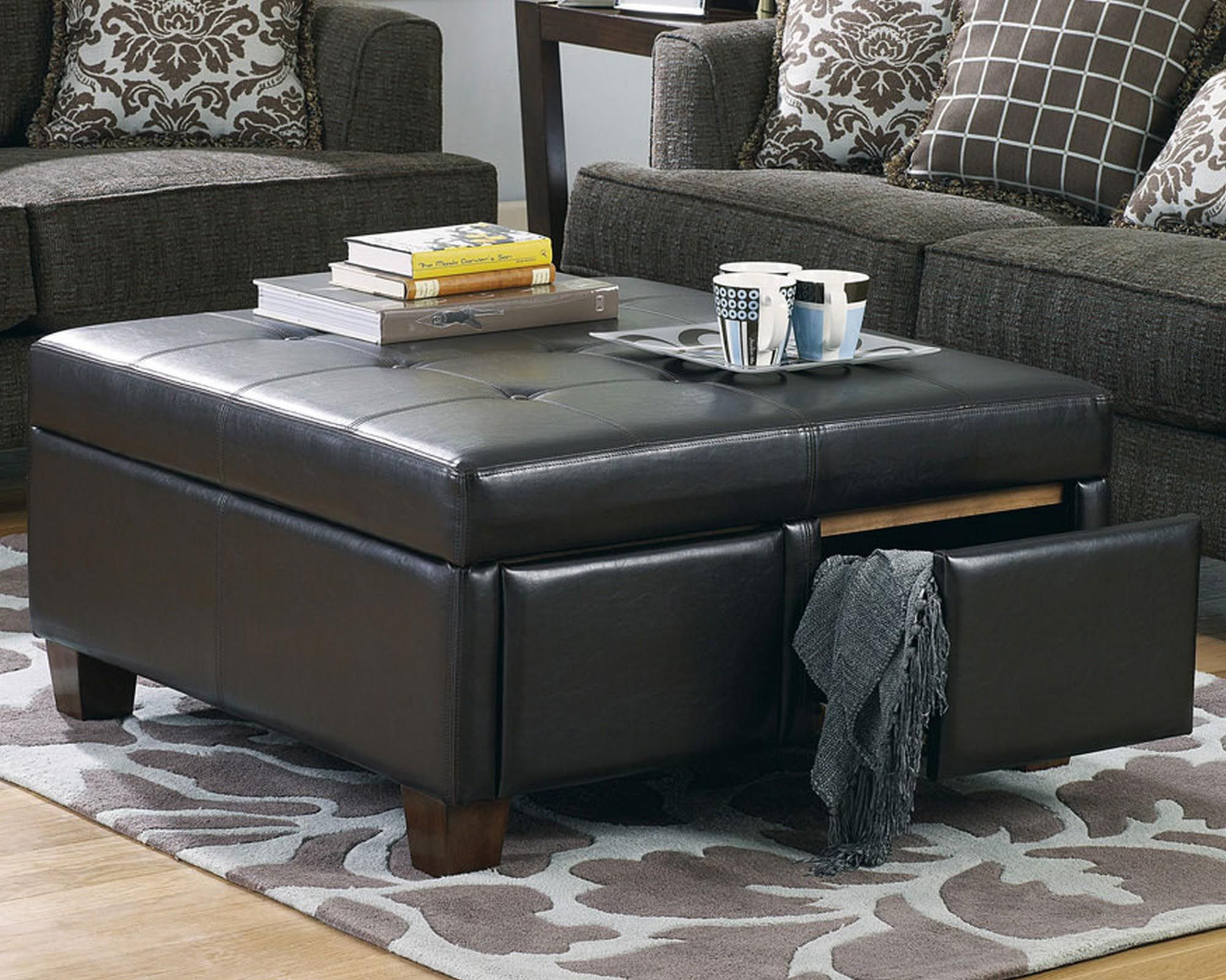 Black Leather Ottoman Coffee Table Coffee Tables Leather Ottoman in size 2000 X 1600