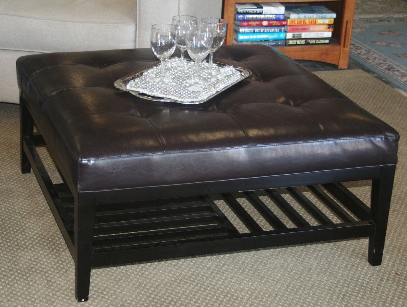 Black Leather Ottoman In New Look Royals Courage throughout measurements 1358 X 1025