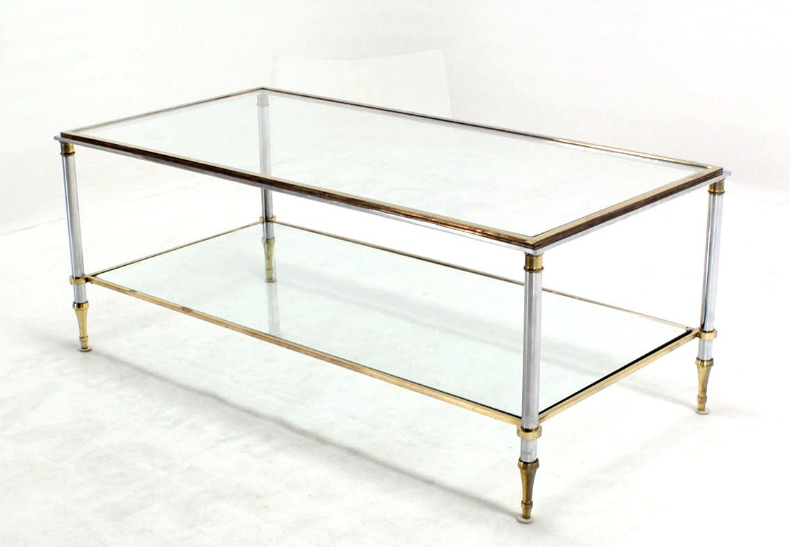 Brass Chrome And Glass Top Mid Century Modern Rectangular Coffee for proportions 1135 X 786