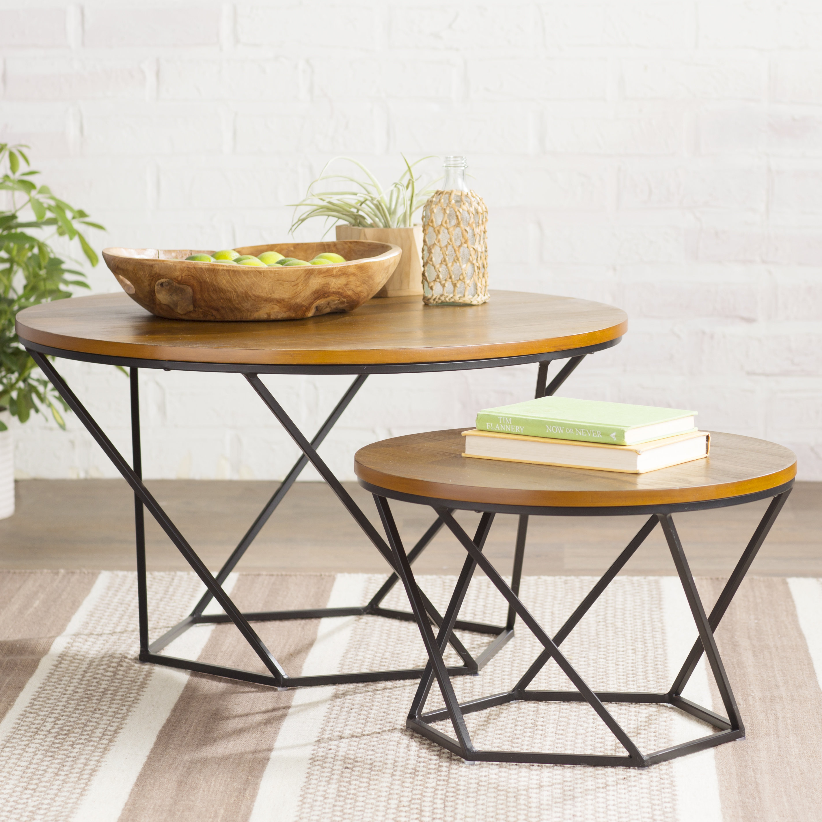 Brayden Studio Ahrens Geometric 2 Piece Coffee Table Set Reviews within proportions 2847 X 2847