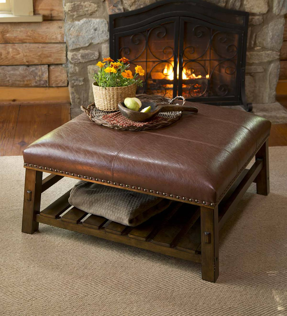 Canyon Leather Coffee Table Plowhearth with dimensions 1200 X 1320