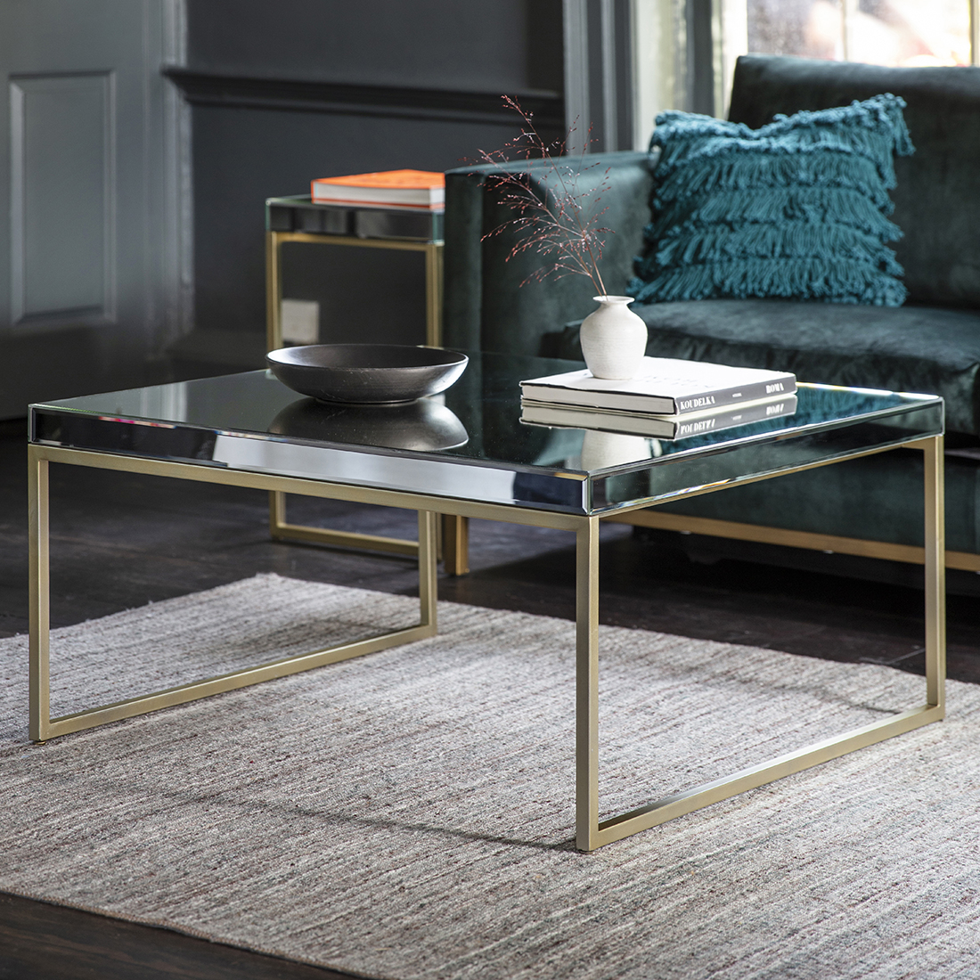 Champagne Gold Mirrored Coffee Table Primrose Plum intended for size 1100 X 1100