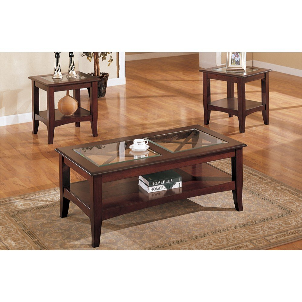 Charlton Home Holte Wooden 3 Piece Coffee Table Set With Glass Top with regard to size 1000 X 1000