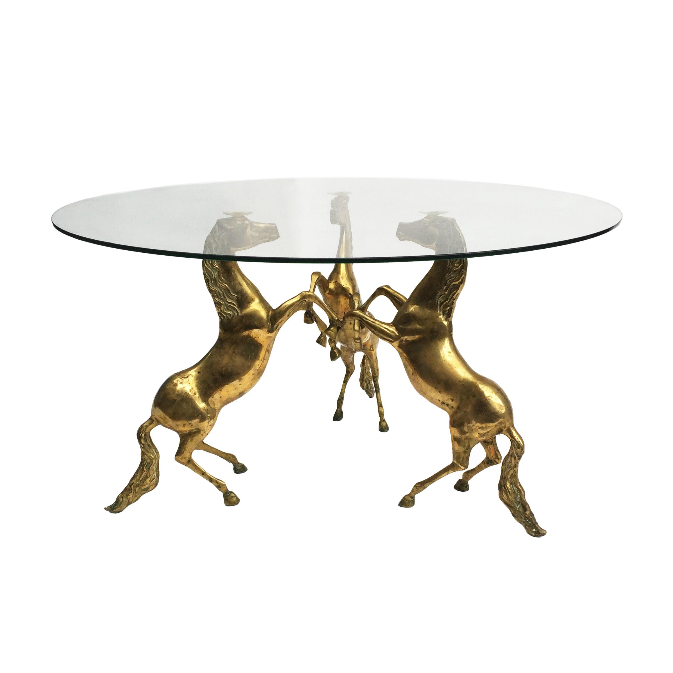 Chodoff Midcentury Bronze Coffee Table With Horse Heads And Glass regarding measurements 2317 X 2317