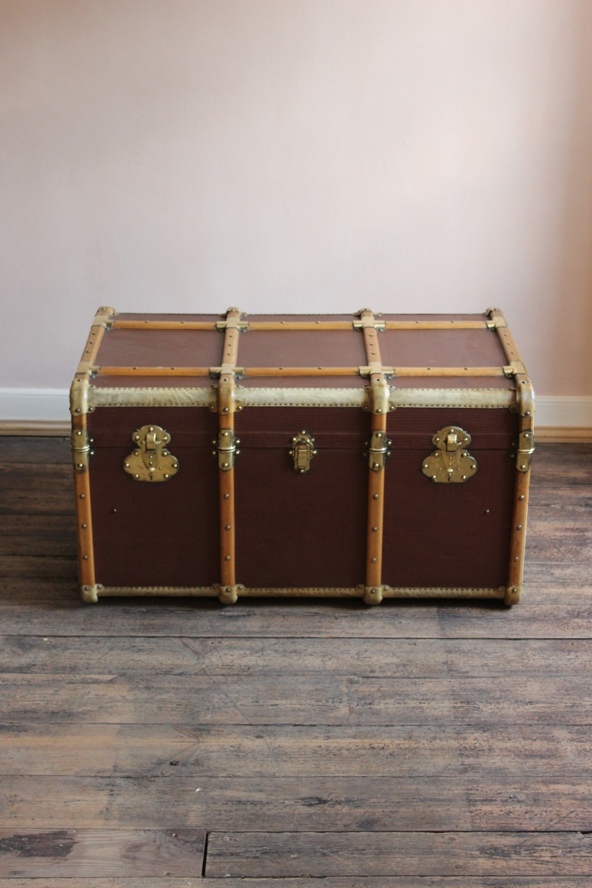 Circa 1920s French Brass And Vellum Trunk Coffee Table Leather for sizing 854 X 1280