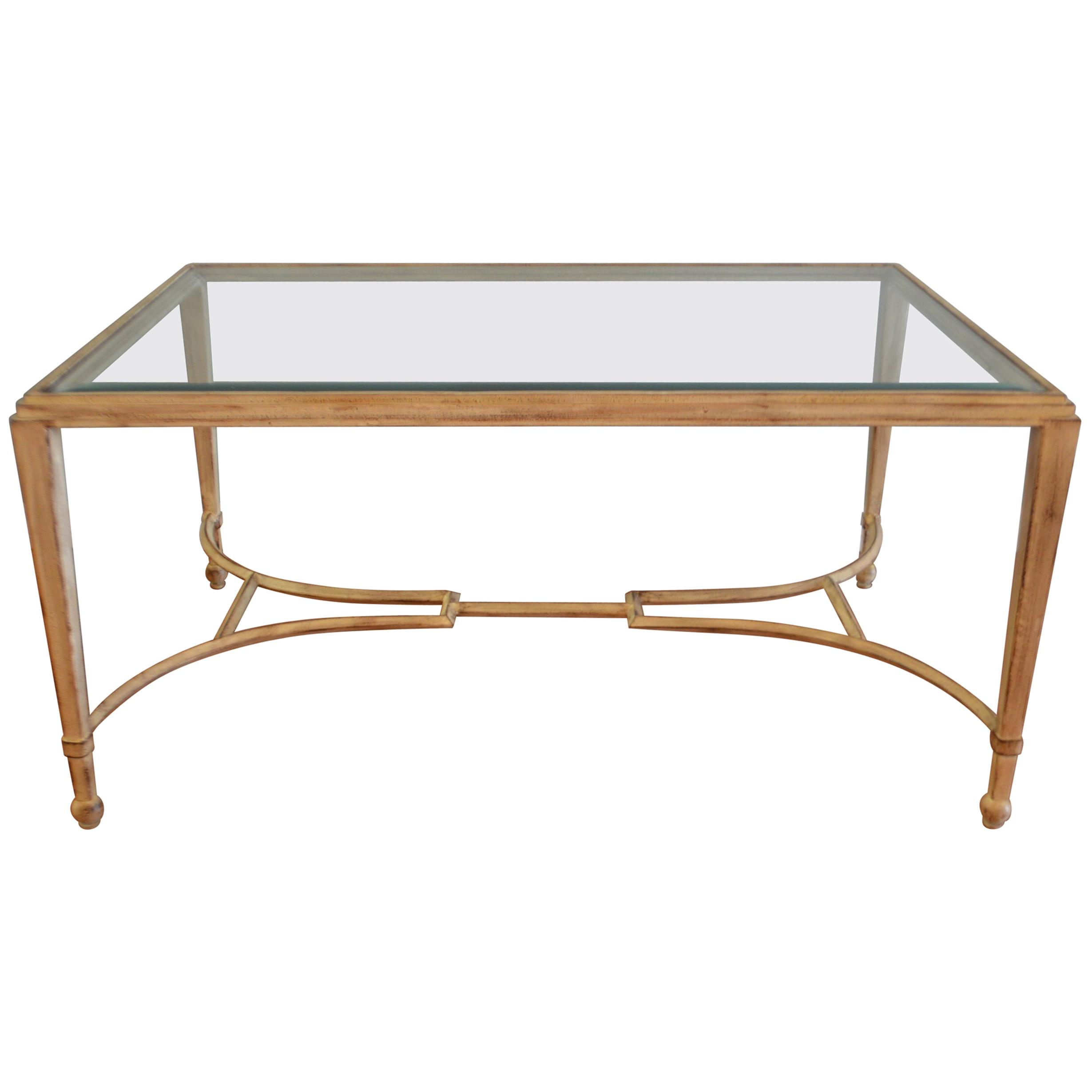 Classic Style Painted Wrought Iron Coffee Table With Beveled Glass in proportions 2459 X 2459