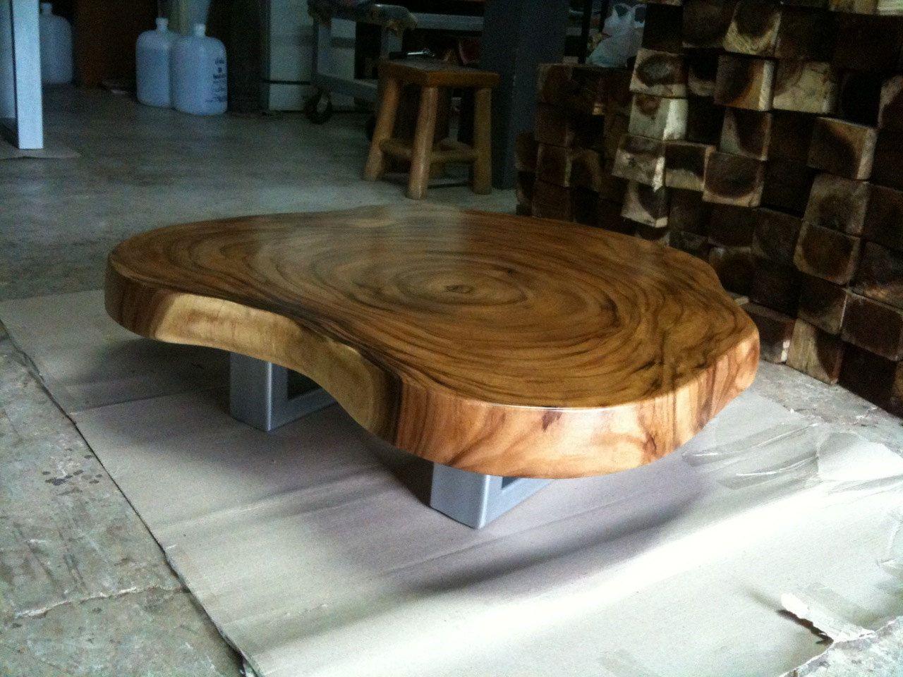 Coffee Table Reclaimed Acacia Wood Solid Slab Flowbkk On Etsy throughout sizing 1280 X 960