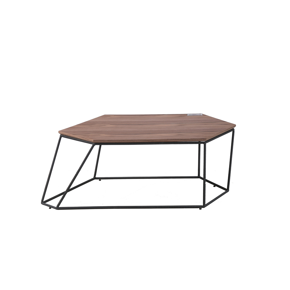 Coffee Table With Walnut Veneer Top And Black Powder Coated Seven inside measurements 1000 X 1000