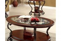 Cohler Traditional Brown Cherry 2 Piece Coffee Table Set Foa inside dimensions 3500 X 3500
